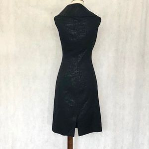 Tahari Dresses - Tahari Sleeveless Black Jaquard Retro Collar Dress